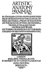 Cover of Artistic Anatomy of Animals