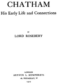 Cover of Lord Chatham, His Early Life and Connections