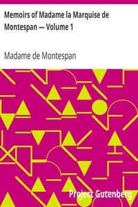 Cover of Memoirs of Madame la Marquise de Montespan — Volume 1