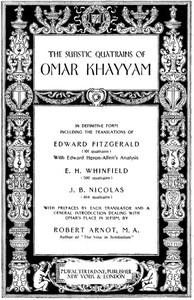 Cover of The Sufistic Quatrains of Omar Khayyam