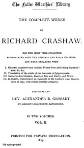 Cover of The Complete Works of Richard Crashaw, Volume II