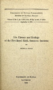 Cover of Life History and Ecology of the Five-Lined Skink, Eumeces fasciatus