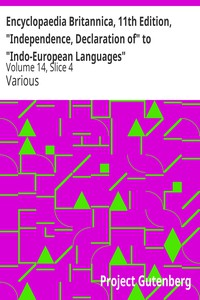 """Cover of Encyclopaedia Britannica, 11th Edition, """"Independence, Declaration of"""" to """"Indo-European Languages"""" Volume 14, Slice 4"""