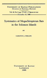Cover of Systematics of Megachiropteran Bats in the Solomon Islands