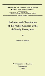 Cover of Evolution and Classification of the Pocket Gophers of the Subfamily Geomyinae
