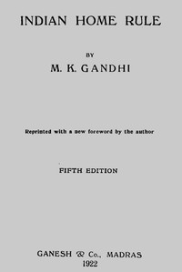 Cover of Indian Home Rule