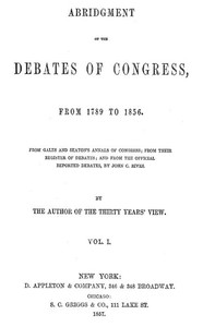 Cover of Abridgment of the Debates of Congress, from 1789 to 1856, Vol. 1 (of 16)