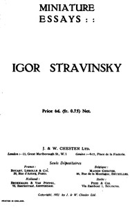 Cover of Miniature essays: Igor Stravinsky