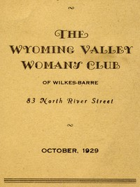 Cover of Program for October 1929: The Wyoming Valley Woman's Club of Wilkes-Barre