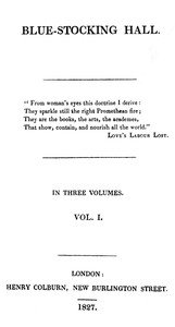Cover of Blue-Stocking Hall, (Vol. 1 of 3)