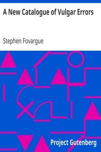 Cover of A New Catalogue of Vulgar Errors