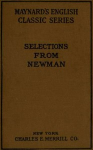 Cover of Selections from the Prose Writings of John Henry Cardinal NewmanFor the Use of Schools