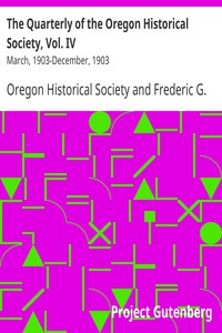 Cover of The Quarterly of the Oregon Historical Society, Vol. IVMarch, 1903-December, 1903