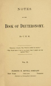 Cover of Notes on the Book of Deuteronomy, Volume I