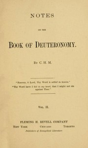 Cover of Notes on the Book of Deuteronomy, Volume II