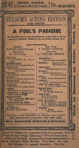 Cover of A Fool's Paradise: An Original Play in Three Acts