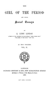 Cover of The Girl of the Period, and Other Social Essays, Vol. 2 (of 2)