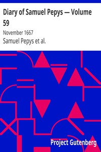 Cover of Diary of Samuel Pepys — Volume 59: November 1667