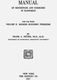 Cover of Manual of References and Exercises in Economics for Use with Volume II. Modern Economic Problems