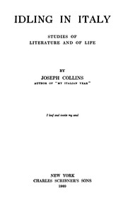 Idling in Italy: Studies of literature and of life