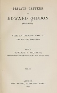 Cover of Private Letters of Edward Gibbon (1753-1794) Volume 2 (of 2)