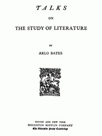 Cover of Talks on the study of literature.