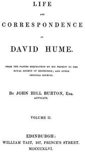 Life and Correspondence of David Hume, Volume 2