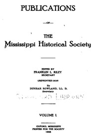 Cover of Publications of the Mississippi Historical Society, Volume 01 (of 14), 1898
