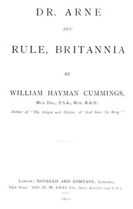 Cover of Dr. Arne and Rule, Britannia