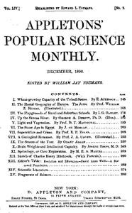 Cover of Appletons' Popular Science Monthly, December 1898Volume LIV, No. 2, December 1898
