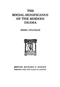 Cover of The Social Significance of the Modern Drama