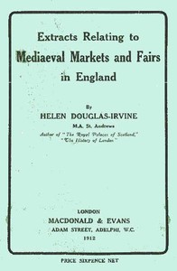 Cover of Extracts Relating to Mediaeval Markets and Fairs in England