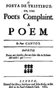 Cover of Poeta de Tristibus; Or, The Poet's Complaint