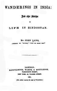 Cover of Wanderings in India, and Other Sketches of Life in Hindostan