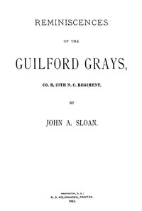 Cover of Reminiscences of the Guilford Grays, Co. B., 27th N.C. Regiment