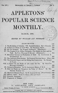 Appletons' Popular Science Monthly, March 1899Volume LIV, No. 5, March 1899