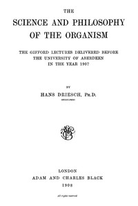 Cover of The Science and Philosophy of the Organism