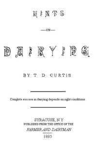 Cover of Hints on Dairying