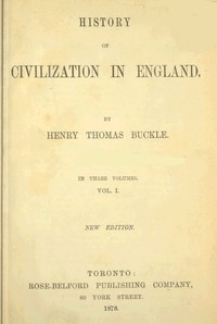 Cover of History of Civilization in England,  Vol. 1 of 3
