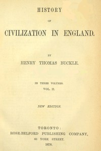 Cover of History of Civilization in England,  Vol. 2 of 3