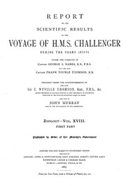 Report on the Radiolaria Collected by H.M.S. Challenger During the Years 1873-1876, First Part: Porulosa (Spumellaria and Acantharia)Report on the Scientific Results of the Voyage of H.M.S. Challenger During the Years 1873-76, Vol. XVIII