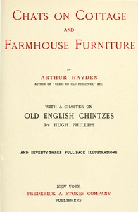 Cover of Chats on Cottage and Farmhouse Furniture