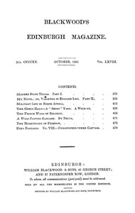Cover of Blackwood's Edinburgh Magazine, Vol. 68, No 420, October 1850