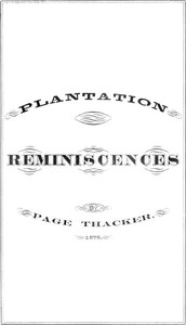Cover of Plantation Reminiscences