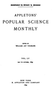 Cover of Appletons' Popular Science Monthly, May 1899Volume LV, No. 1, May 1899