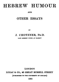 Cover of Hebrew Humor and Other Essays