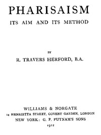 Cover of Pharisaism, Its Aim and Its Method