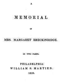 Cover of A Memorial of Mrs. Margaret Breckinridge
