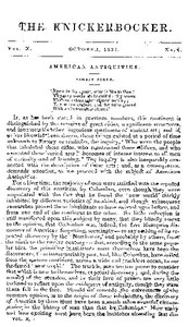 Cover of The Knickerbocker, Vol. 10, No. 4, October 1837
