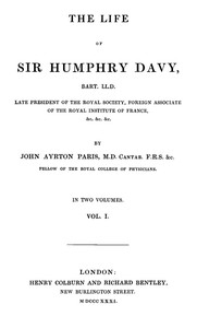 Cover of The Life of Sir Humphrey Davy, Bart. LL.D., Volume 1 (of 2)
